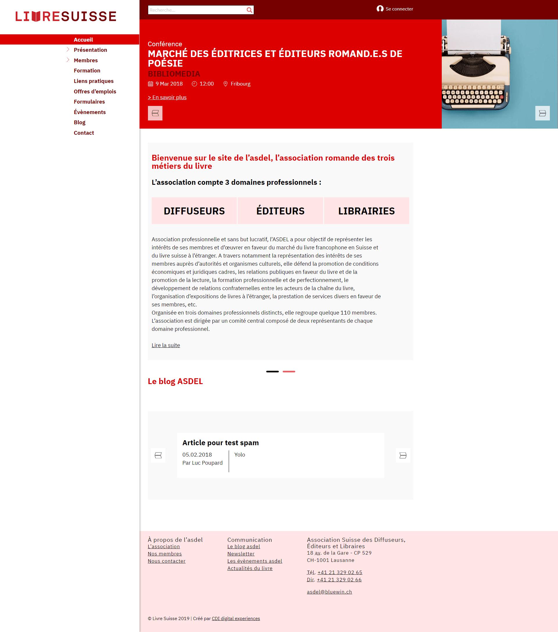 livresuisse accueil - projet
